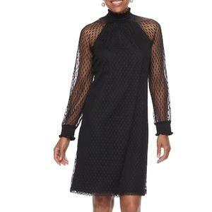 NWT Nina Leonard Lace Mockneck Trapeze Dress